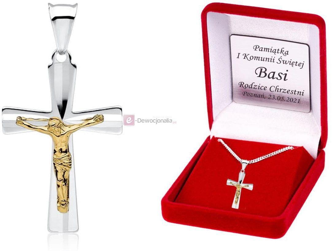 Srebrny (pr.925) medalik JEZUS łańcuszek DEDYKACJA - Pamiątka Prezent
