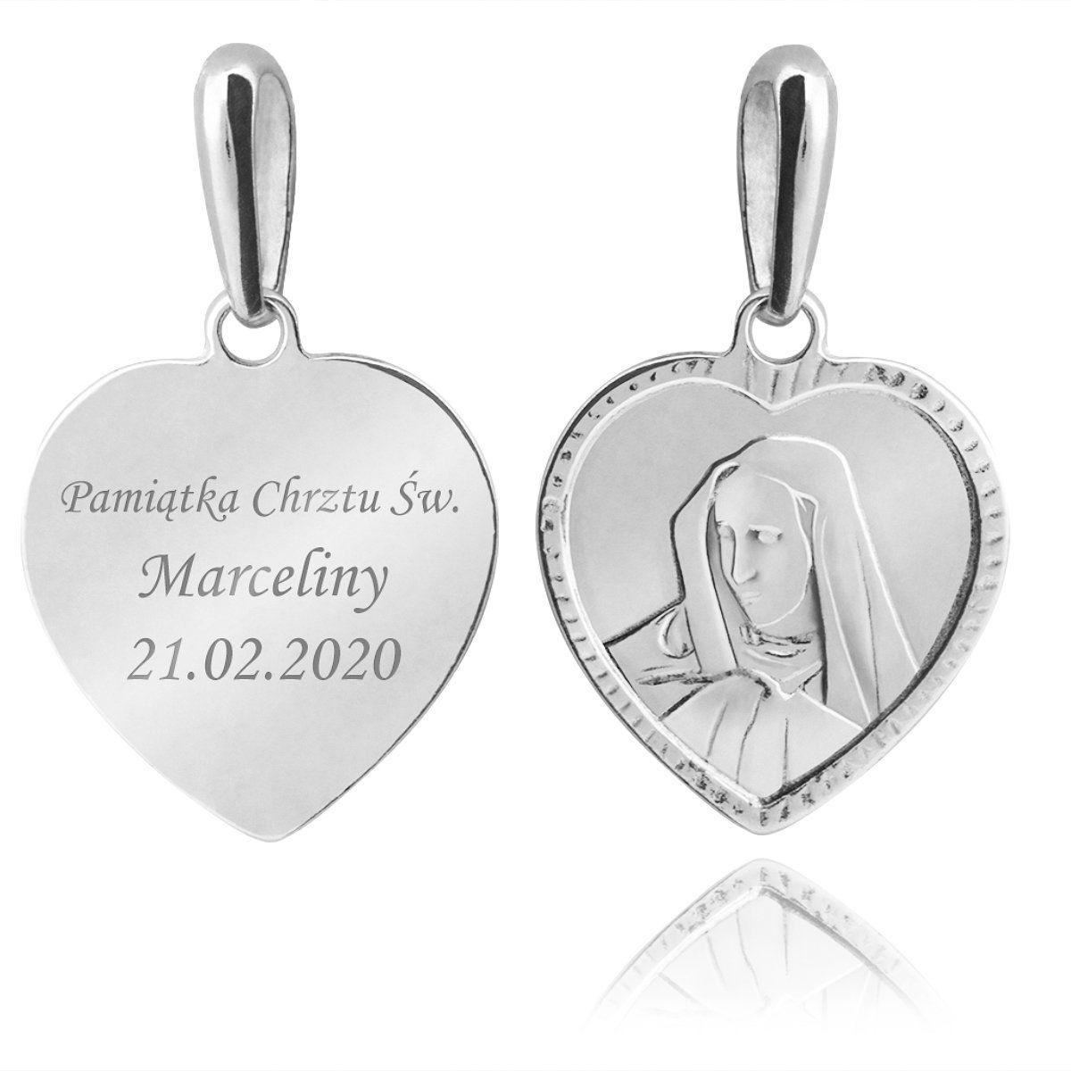 Srebrny medalik Serce pr. 925 Matka Boska Grawer