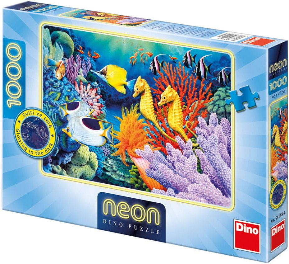Puzzle DINO 1000 - Życie podwodne - neon