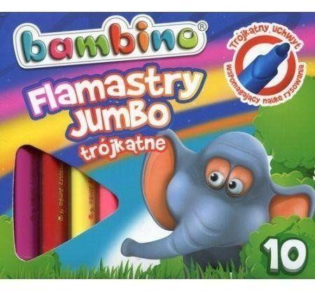 Flamastry trójkątne Jumbo 10 kolorów BAMBINO - ST-MAJEWSKI