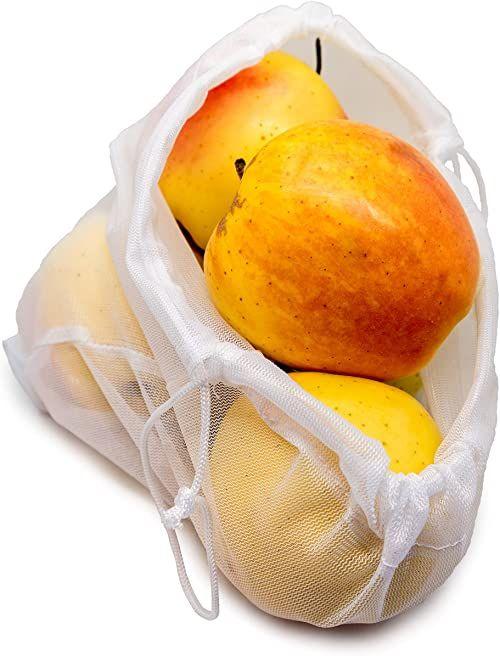 Nerthus FIH 673 673 zestaw kratek z tworzywa sztucznego pochodzącego z recyklingu, worki na żywność wielokrotnego użytku, do świeżych produktów, owoców i warzyw, 3 rozmiary, 100% 3 rozmiary