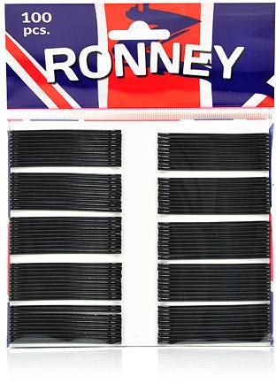 Ronney Profesjonalne wsuwki do włosów Długie czarne, proste 100 szt.