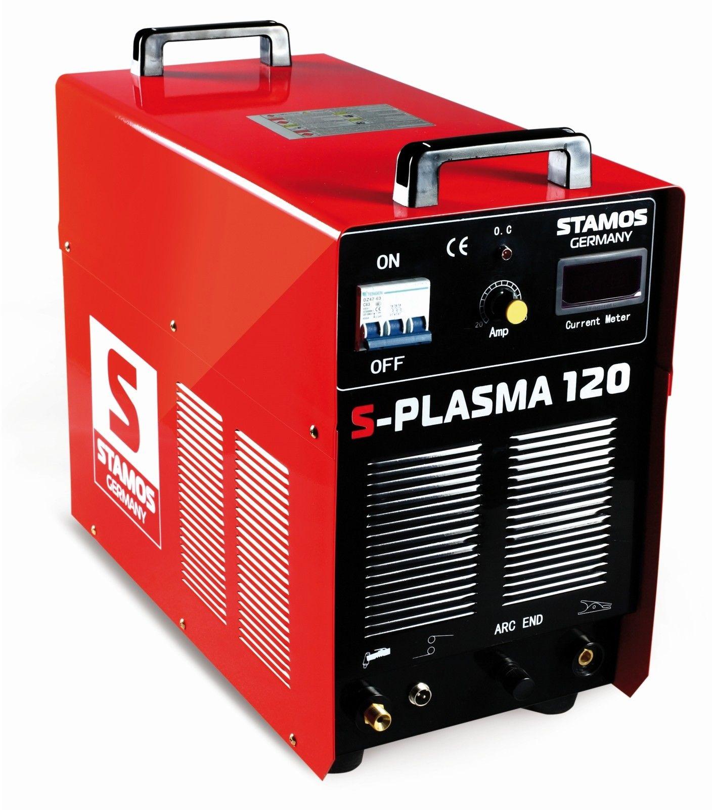 Przecinarka plazmowa - 120 A - 400 V - łuk pilotujący + Maska spawalnicza - Pokerface - Professional - Stamos Basic - S-Plasma 120 - 3 lata