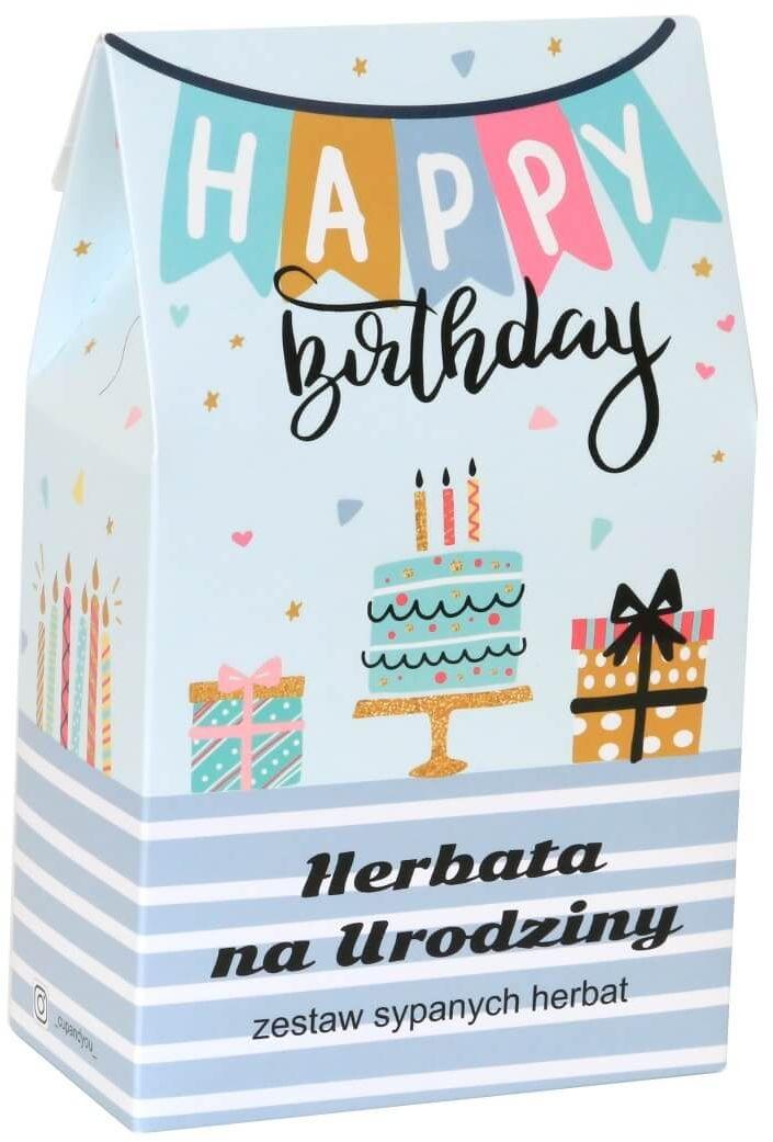 Urodzinowa torebka z herbatą - zestaw 10 wysokiej jakości herbat smakowych w opakowaniu prezentowym na urodziny 10x5g