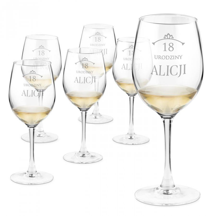 Kieliszki szklane do wina zestaw x6 grawer dla niej na osiemnastkę