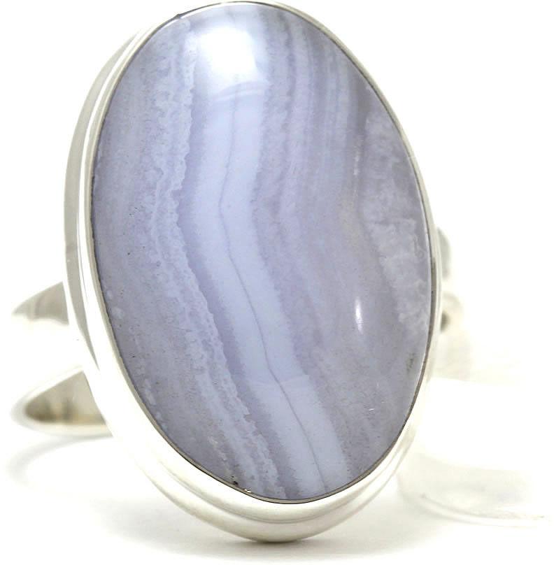 Kuźnia Srebra - Pierścionek srebrny, rozm. 14, Agat Koronkowy Błękitny, 7g, model