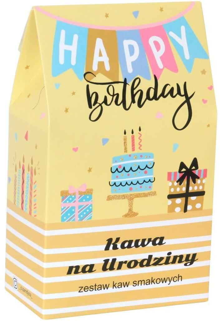 Urodzinowa torebka z kawą  prezent upominek na urodziny z kawą aromatyzowaną smakową 10x10g