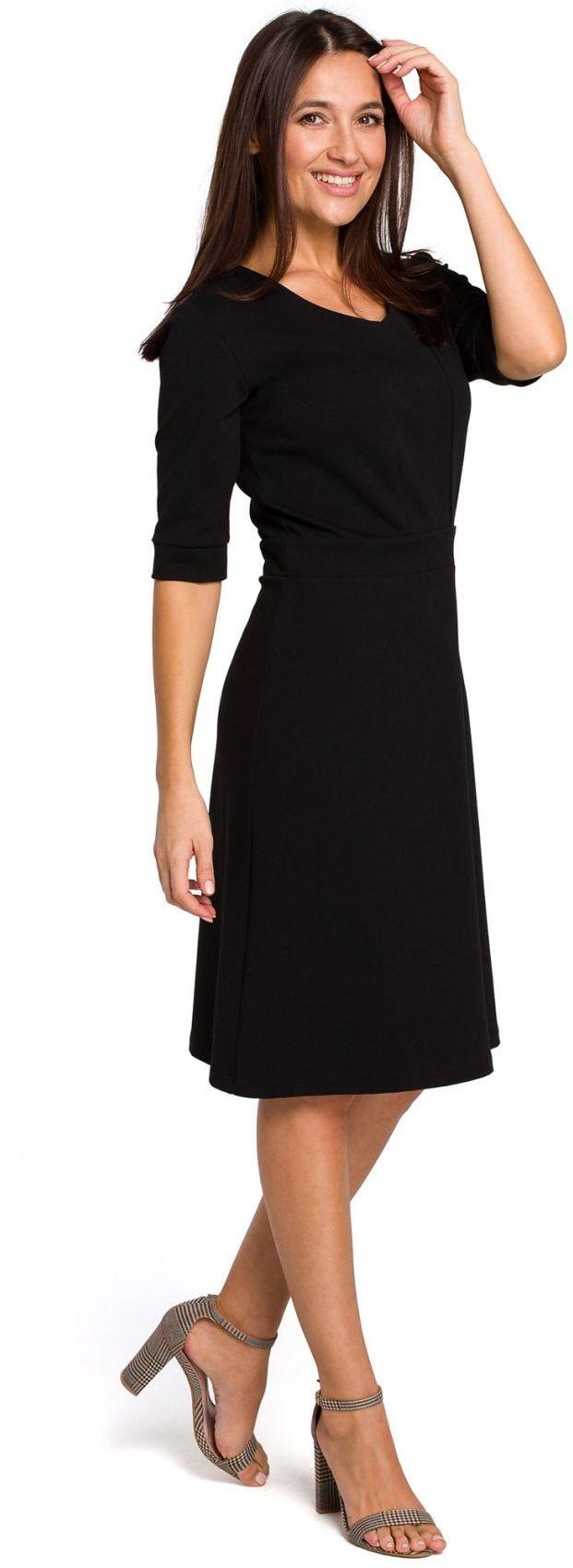 S153 Sukienka dzianinowa z dekoltem V - czarna