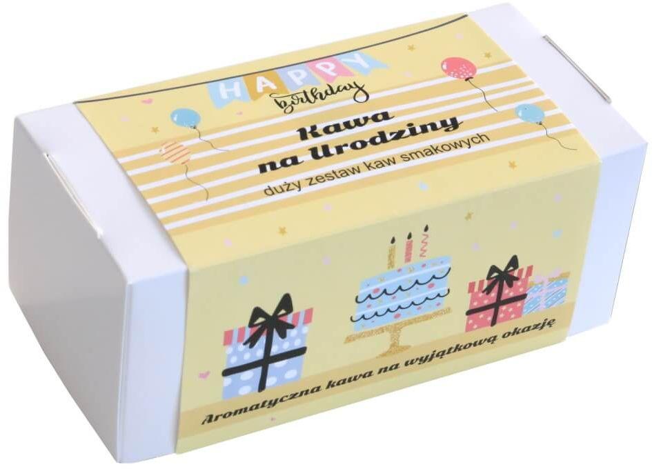Box z kawą na urodziny  zestaw wyselekcjonowanych kaw aromatyzowanych, 20 smaków po 10g