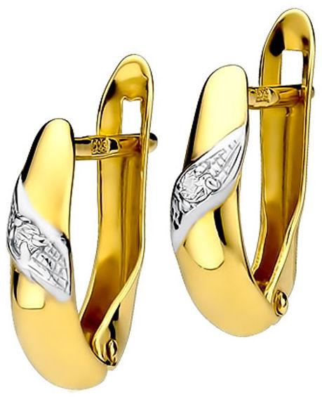 Złote kolczyki 585 przecinki z diamentami Brylanty