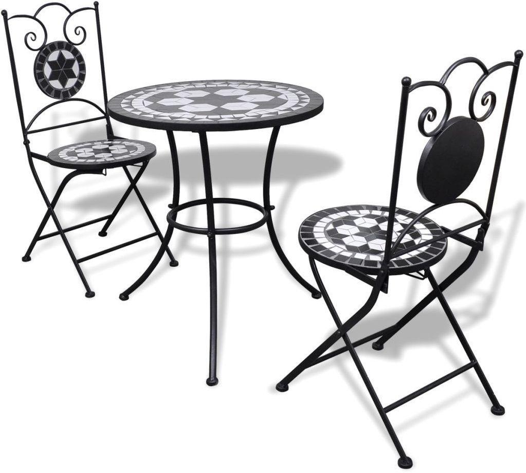 Czarno-biały 3-częściowy zestaw mebli z mozaiką  Flurry