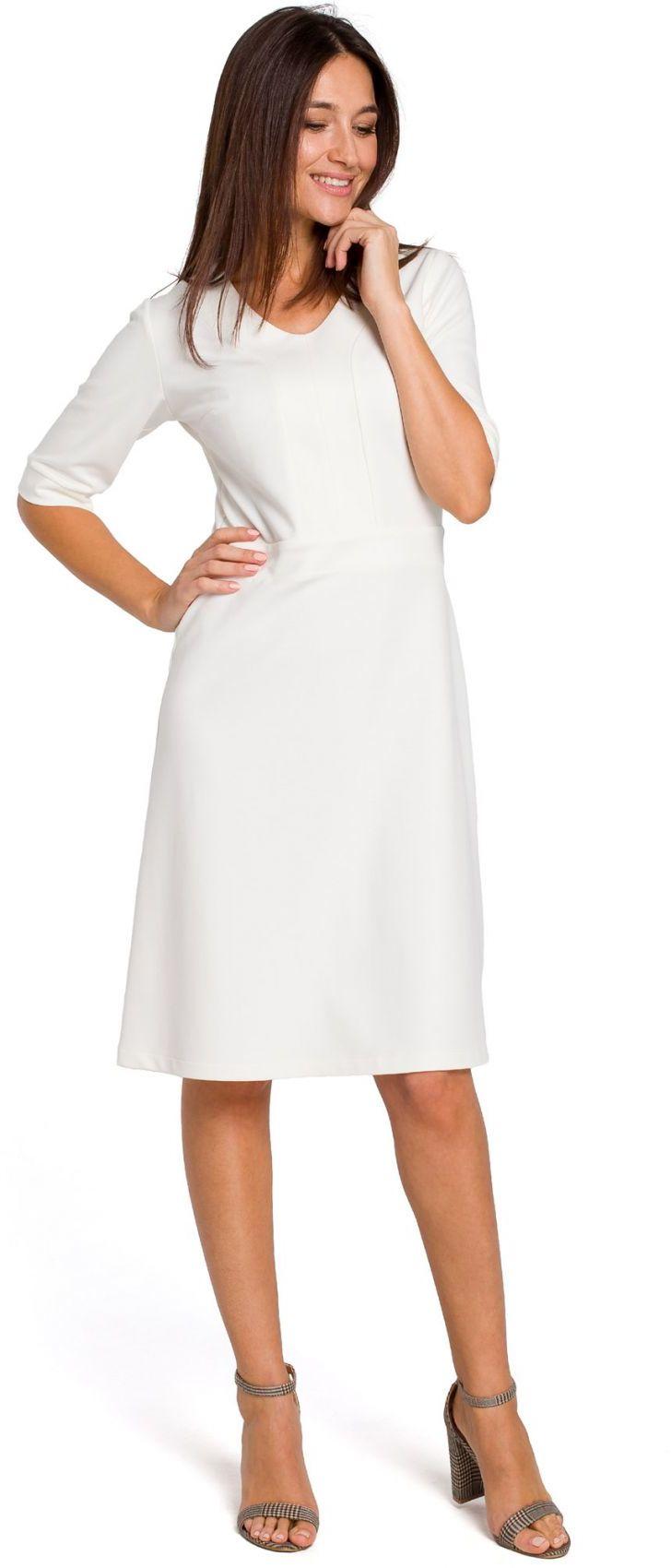 S153 Sukienka dzianinowa z dekoltem V - ecru