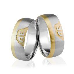 Obrączki srebrno złote z inicjałami - wzór Ag-283-2