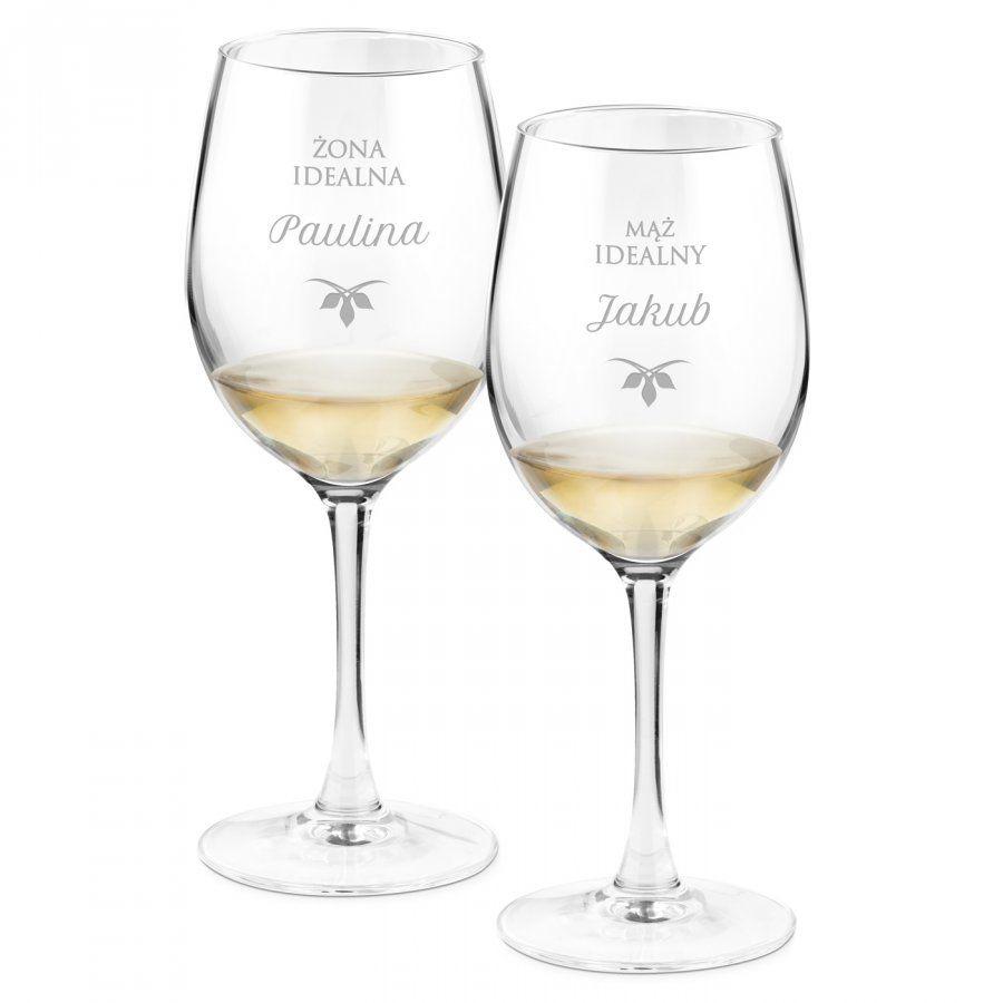 Kieliszki szklane do wina zestaw x2 grawer żona idealna mąż idealny d