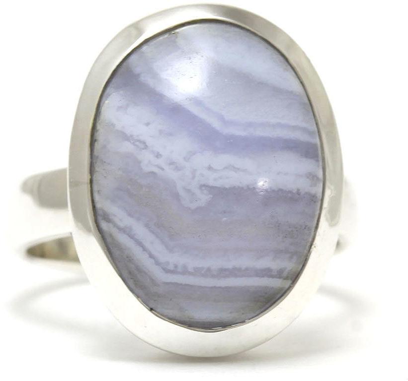 Kuźnia Srebra - Pierścionek srebrny, rozm. 12, Agat Koronkowy Błękitny, 6g, model