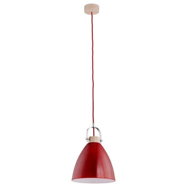 Lampa wisząca zwis HERMINA czerwony/drewno śr. 22cm - czerwony