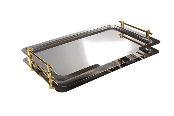 Taca prostokątna do serwowania z uchwytami w kolorze złota GN 1/1 530x325mm