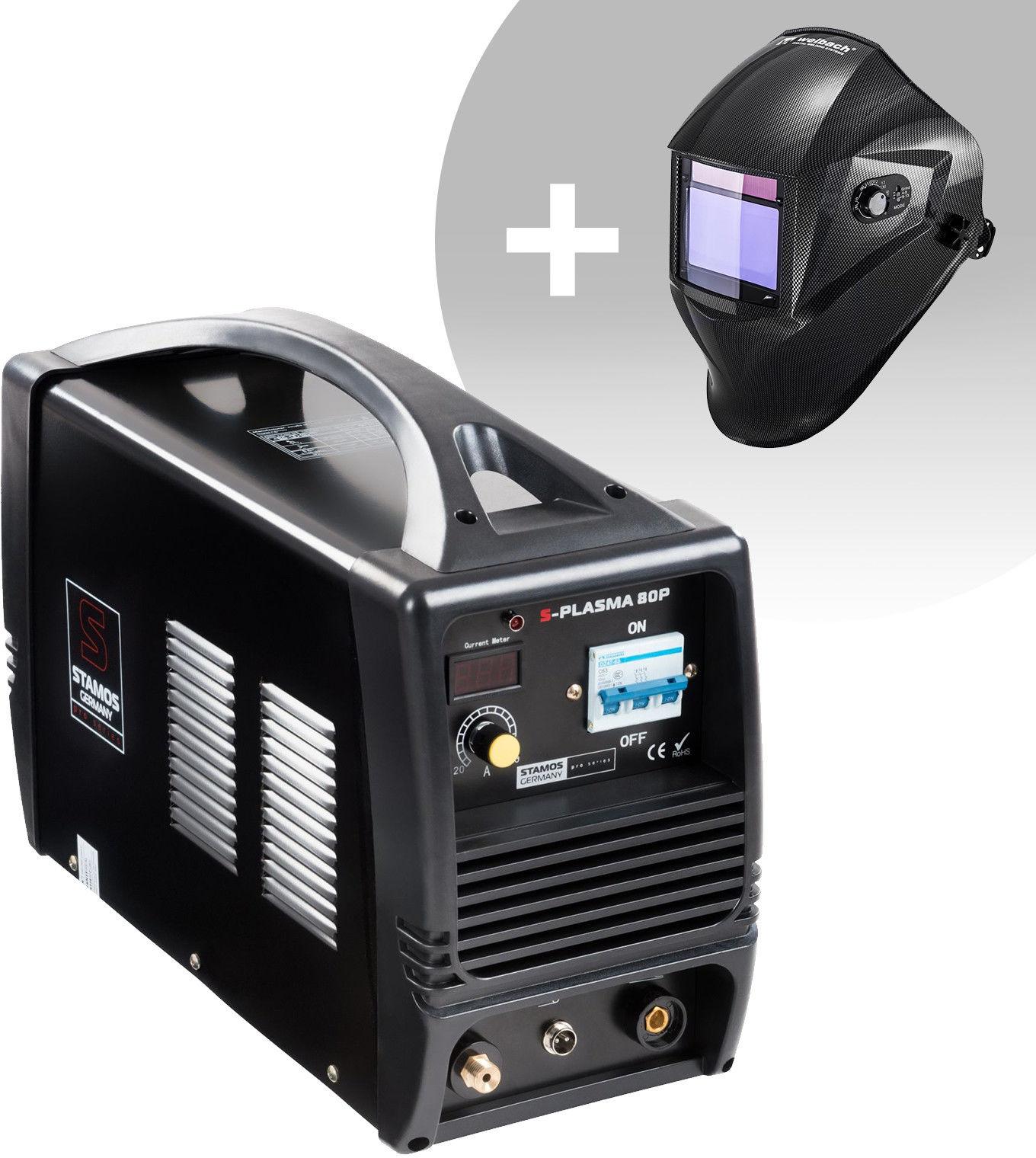 Przecinarka plazmowa - 80 A - 400 V + Maska spawalnicza - Carbonic - Professional - Stamos Pro Series - S-Plasma 80P - 3 lata gwarancji/wysyłka w 24h