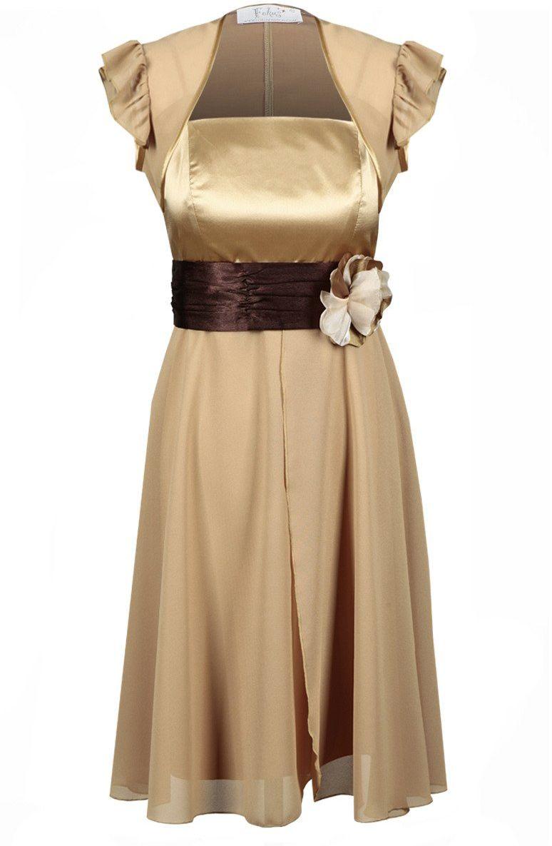 Sukienka FSU184 PIASKOWY CIEMNY