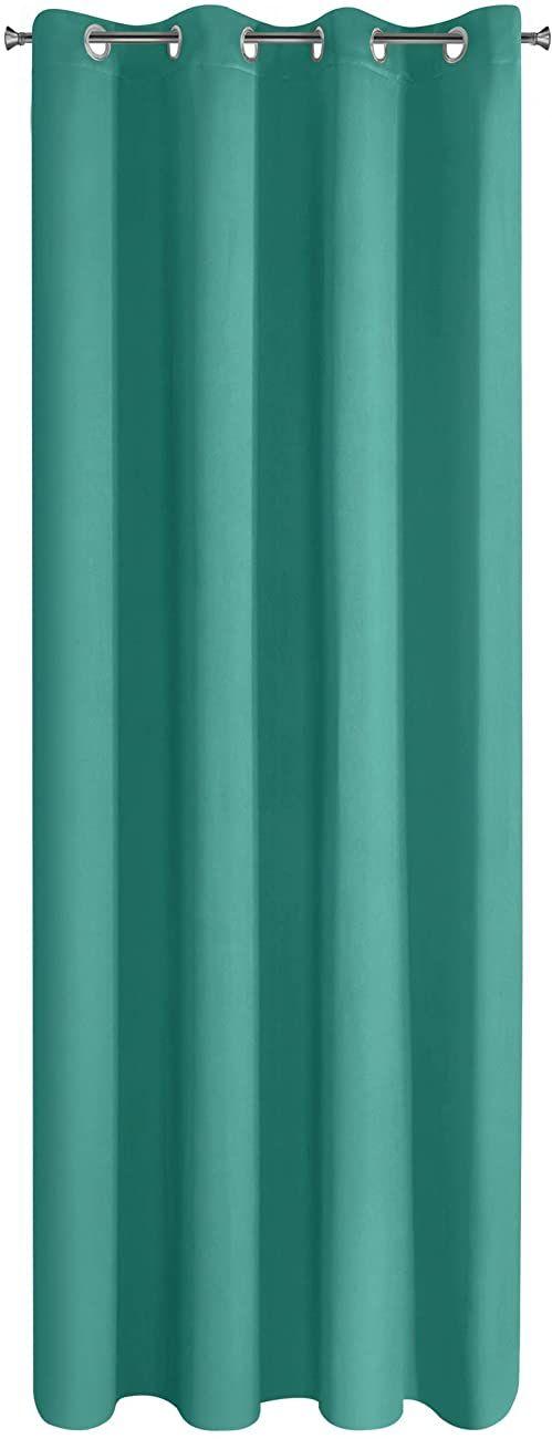 Design91 Gładkie, zaciemniające, 8 oczek, miękkie zasłony, nowoczesne i proste zasłony, do sypialni, pokoju dziecięcego, salonu, turkusowe, 135 x 250 cm
