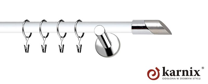 Karnisze Nowoczesne NEO Prestige pojedynczy 19mm Falko INOX - biały