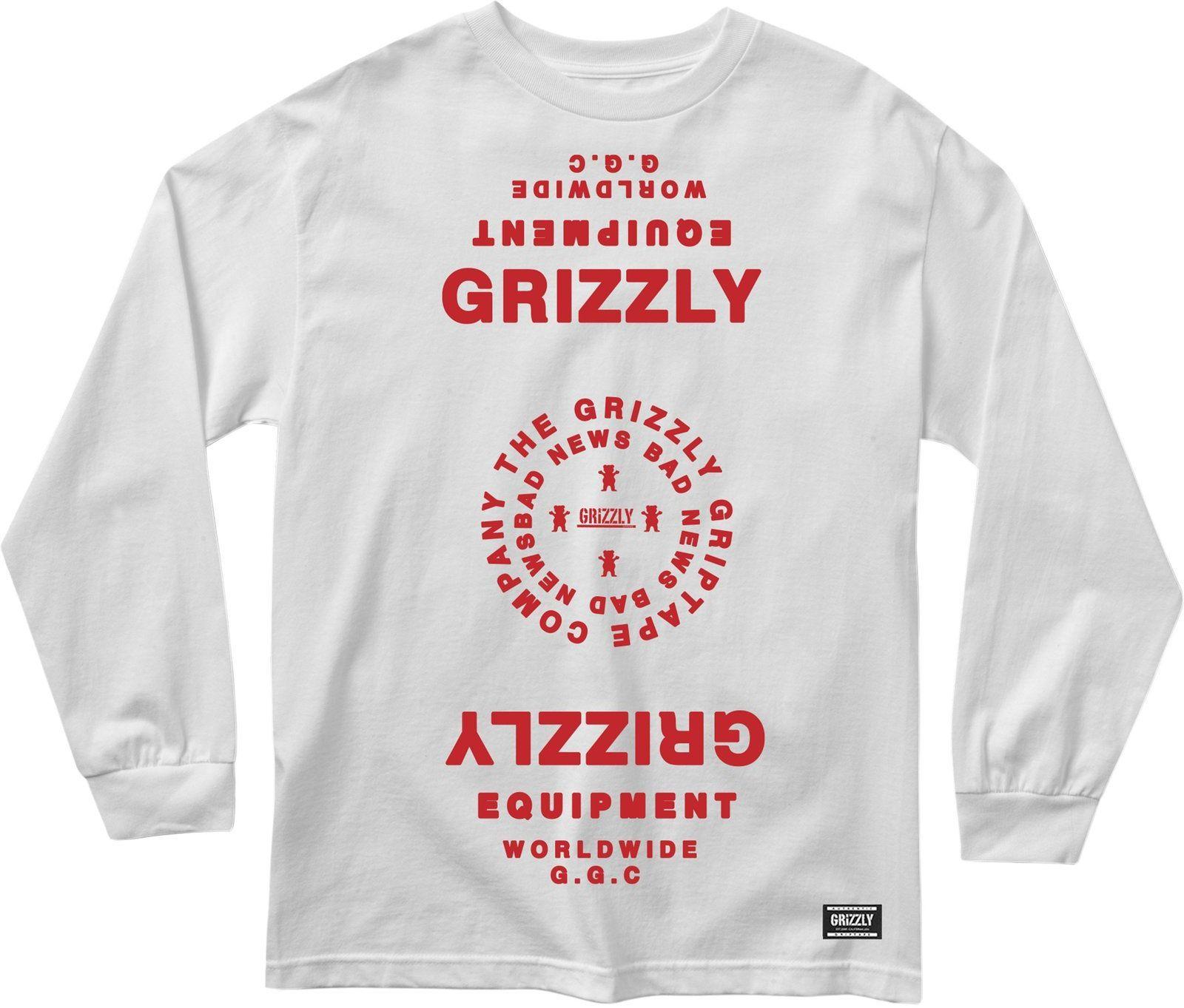 t-shirt męski GRIZZLY MIRRORED LS TEE White
