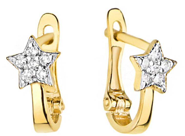 Złote kolczyki 585 angielskie gwiazdki z diamentami