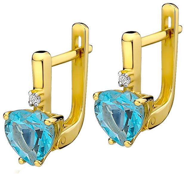 Złote kolczyki 585 serca topaz z diamentami 3,2g