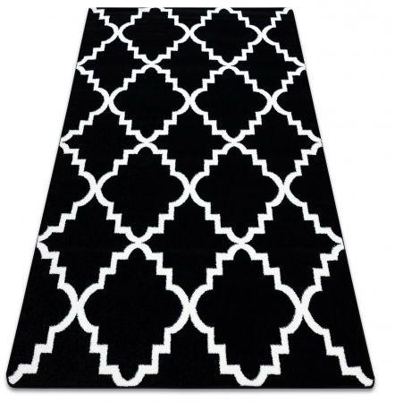 Dywan SKETCH - F343 czarno/biały koniczyna marokańska trellis 120x170 cm