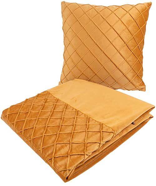 Poduszka dekoracyjna i koc Paulina 300 zestaw 2 żółte
