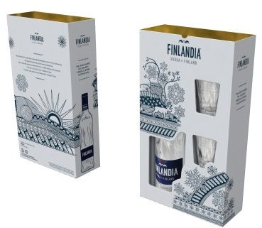 Świąteczna Wódka Finlandia 0,7l w zestawie z dwoma kieliszkami