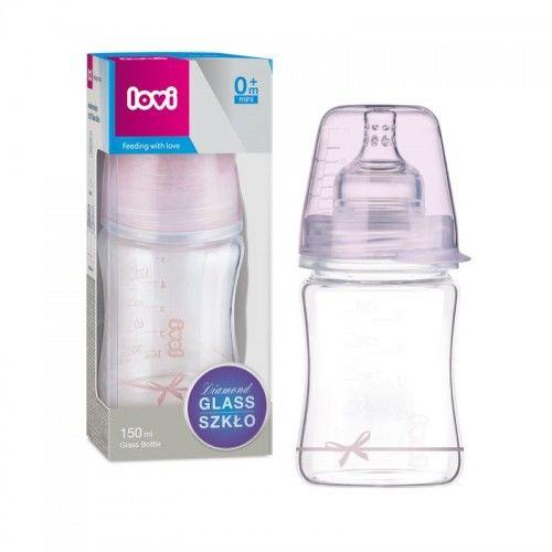 Butelka szklana Diamond Glass 150 ml Baby Shower Girl Lovi