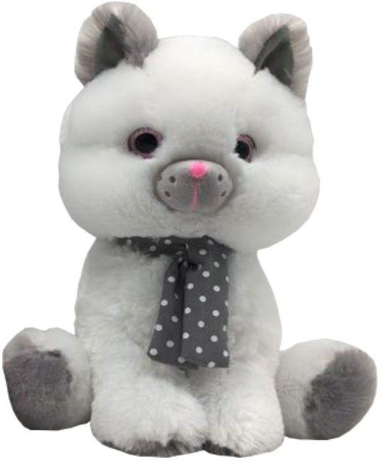 Maskotka Kot biały Silver 23 cm