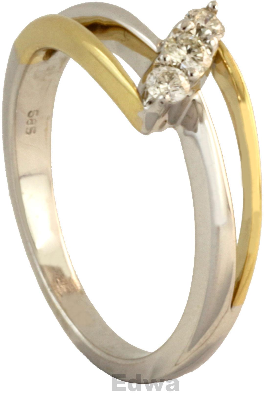 Pierścionek z diamentami, złoty pr.585