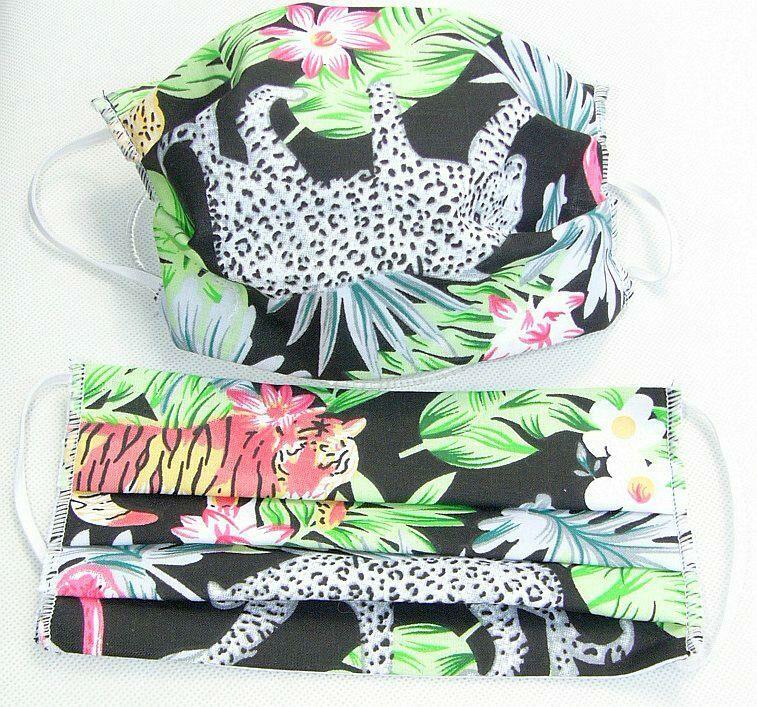 Maseczka maska ochronna na twarz dżungla palmy tygrys lampart dzikie koty czarne tło