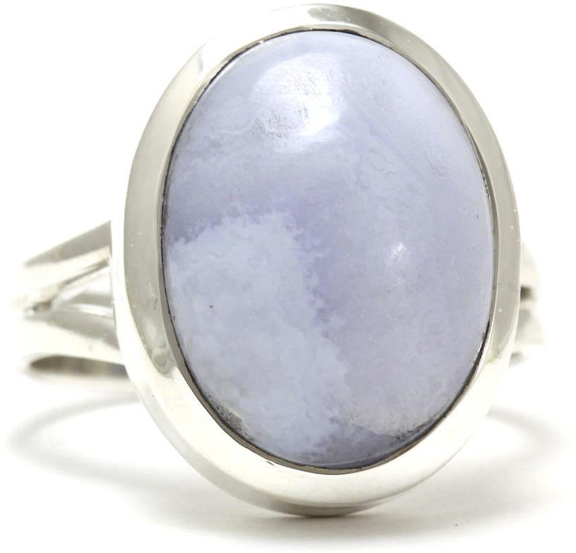 Kuźnia Srebra - Pierścionek srebrny, rozm. 17, Agat Koronkowy Błękitny, 8g, model