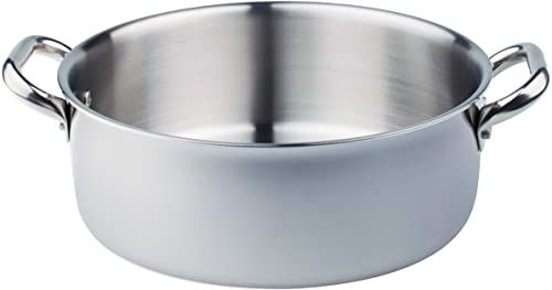 Pentole Agnelli ALIX106ALIN10 Niski Casseruolino z 2 stalowymi uchwytami, trójaminat ze stali aluminiowej, linia serwowania, 10 cm