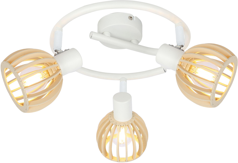 Candellux ATARRI 98-68125 plafon lampa sufitowa spirala biała regulacja klosza 3X25W E14 drewno 44cm