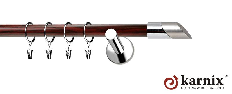Karnisze Nowoczesne NEO Prestige pojedynczy 19mm Falko INOX - mahoń