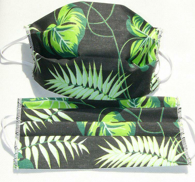 Maseczka maska ochronna na twarz czarna 178b liście zielone gałązki palmy