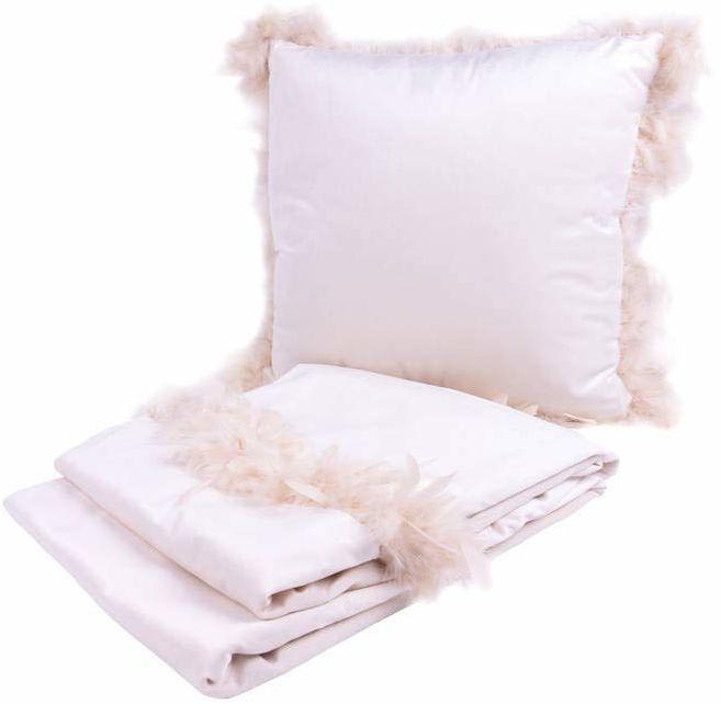 Poduszka dekoracyjna i koc Palmira 100 2-częściowy zestaw biały