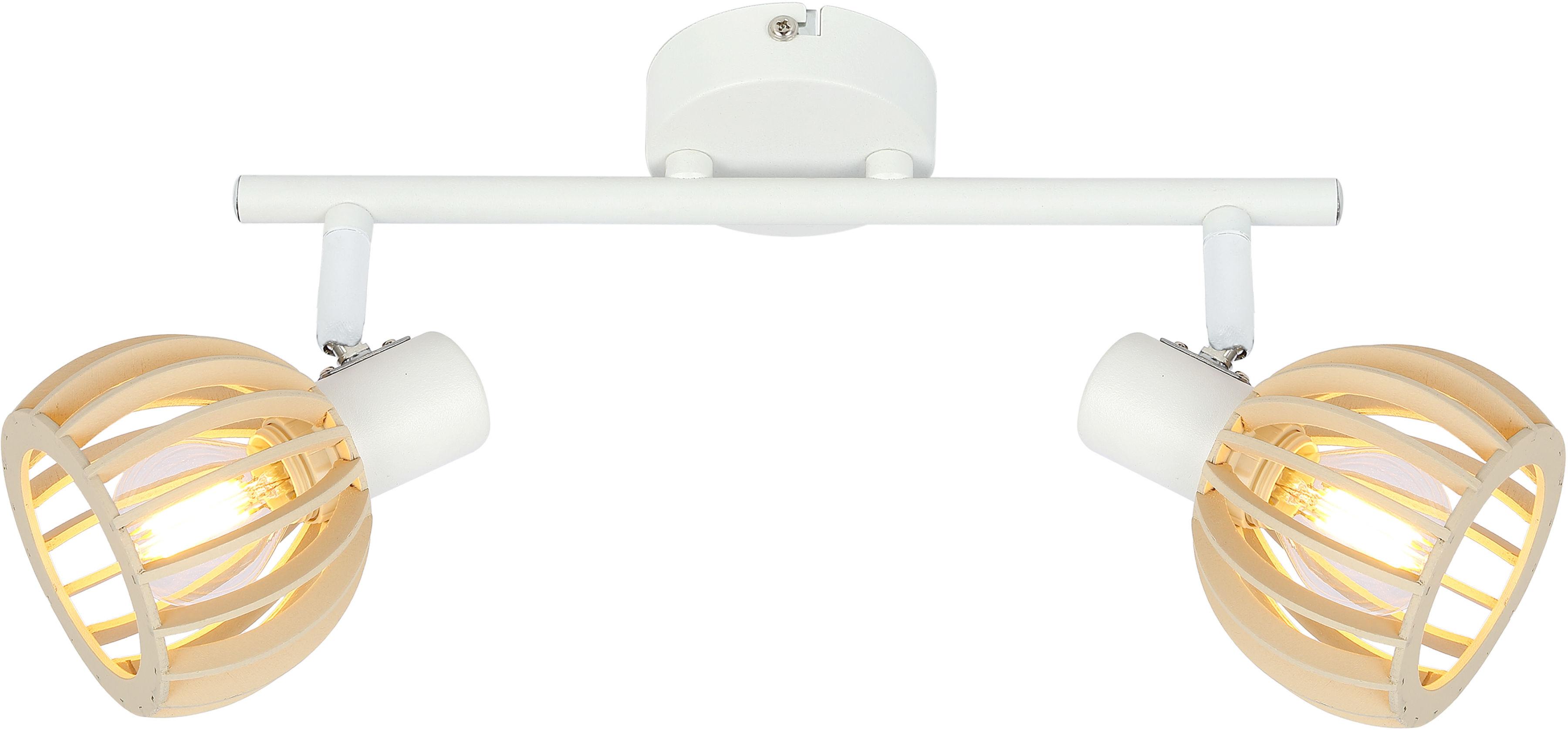 Candellux ATARRI 92-68088 oprawa oświetleniowa biała 2X25W E14 regulacja klosza drewno 43cm