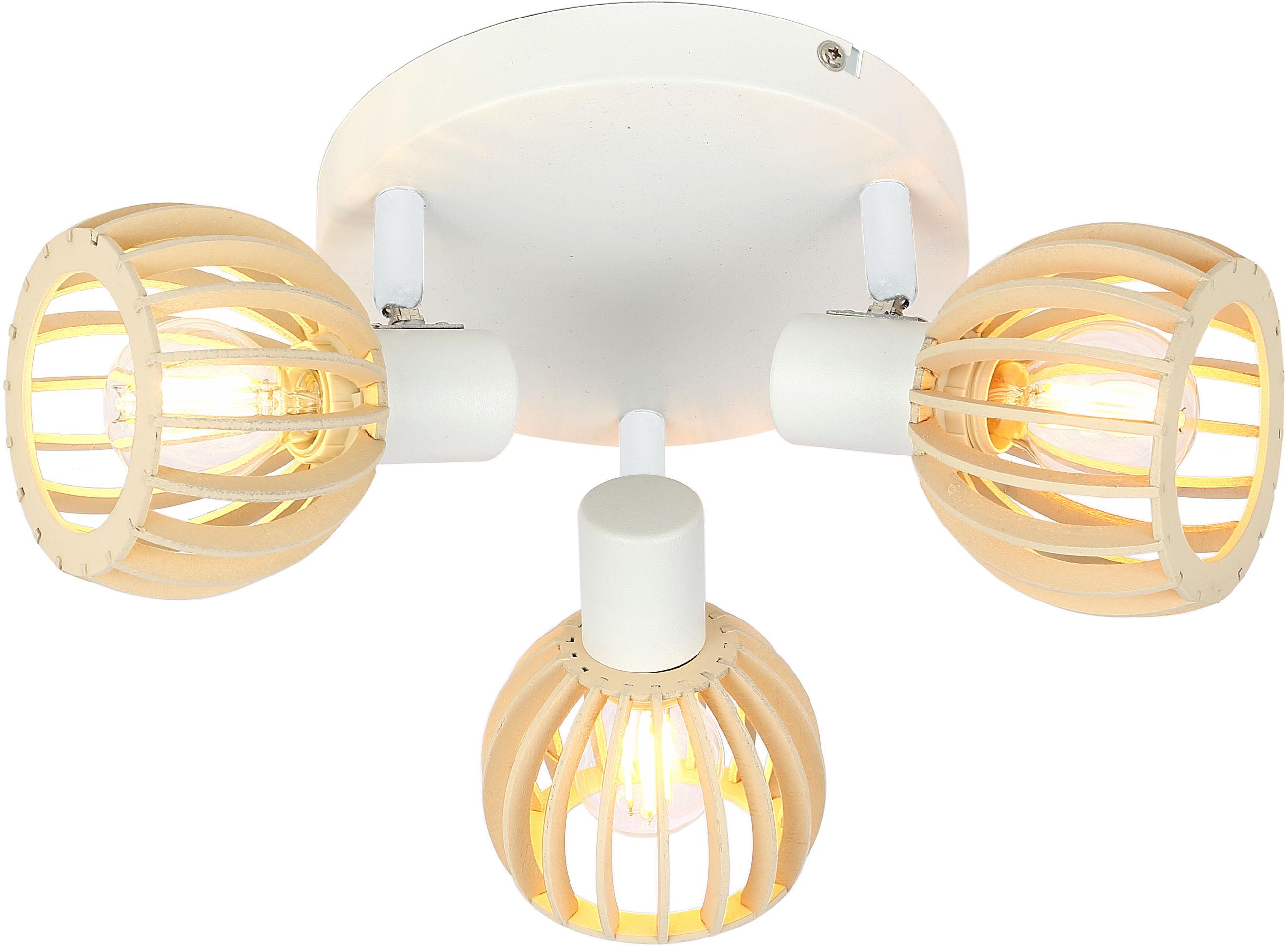 Candellux ATARRI 98-68118 plafon lampa sufitowa biała regulacja klosza 3X25W E14 drewno 35cm