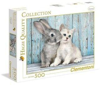 Puzzle Clementoni 500 - Kotek i króliczek, Cat & Bunny