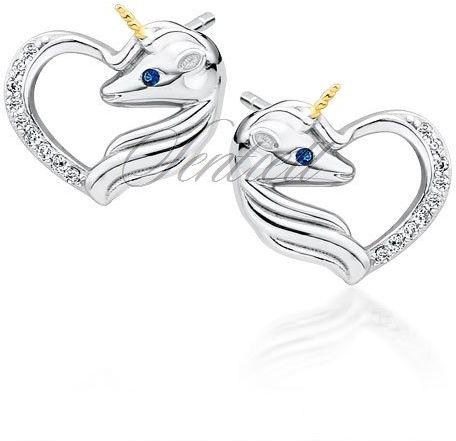 Srebrne kolczyki pr. 925 serce - jednorożec z białymi cyrkoniami i szafirowym okiem