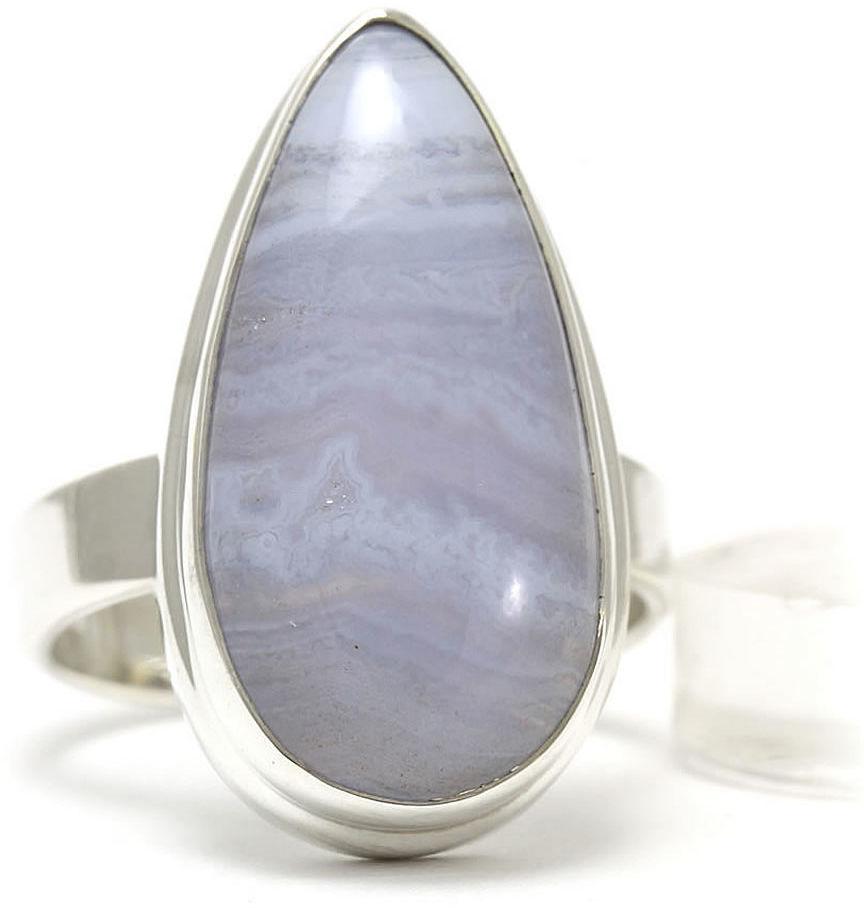 Kuźnia Srebra - Pierścionek srebrny, rozm. 15, Agat Koronkowy Błękitny, 7g, model