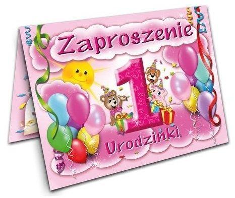 Zaproszenie na Roczek 1 urodziny Różowe 1 sztuka ZX6100