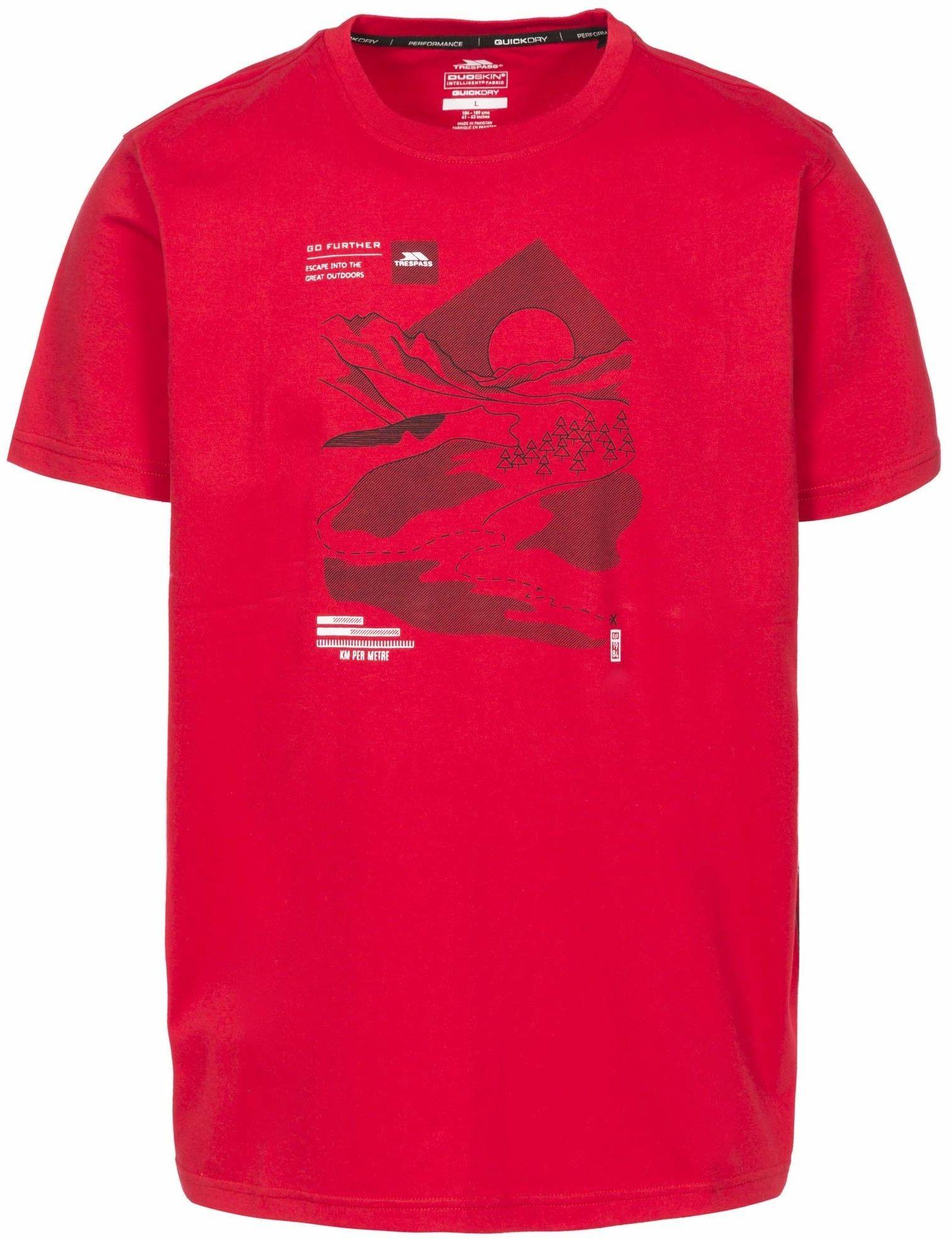 Trespass Męski T-shirt z krótkim rękawem, czerwony, XXS
