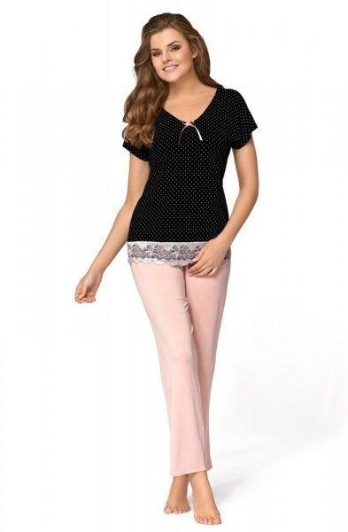 Piżama damska babella iris czarno-pudrowo różowa