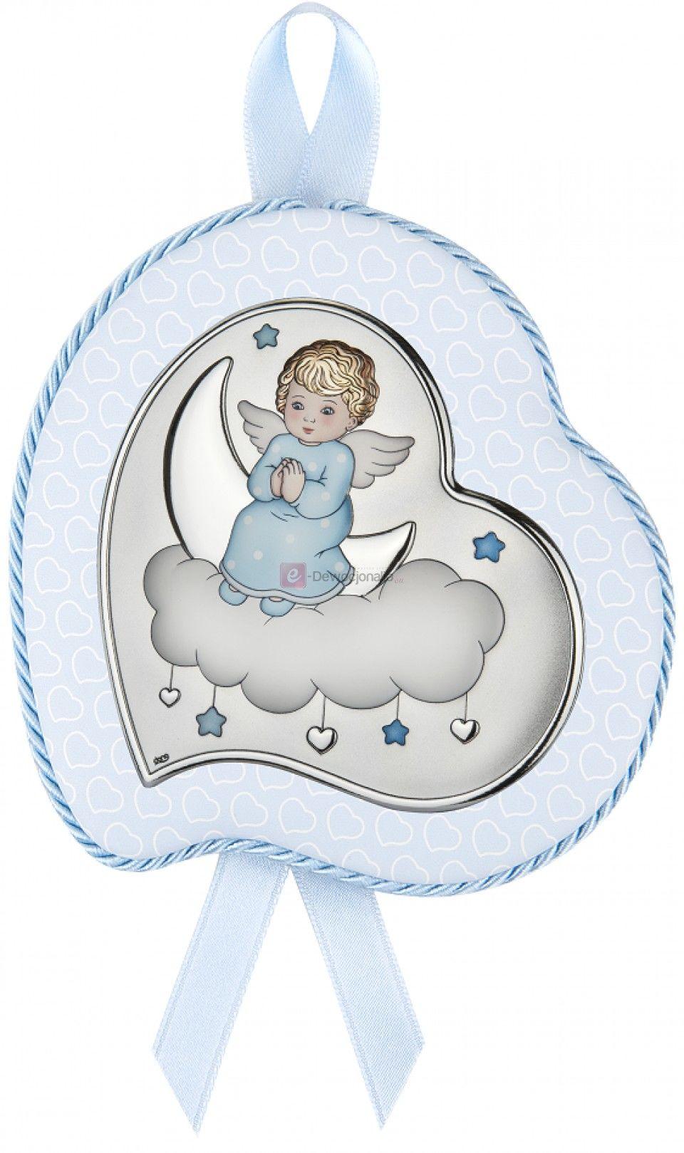 Obrazek srebrny - Medalion grający - Aniołek na chmurce 10x12